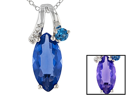Photo of 4.09ctw Color Change Blue Fluorite, Lab Created Blue Spinel & White Zircon Silver Pendant With Chain