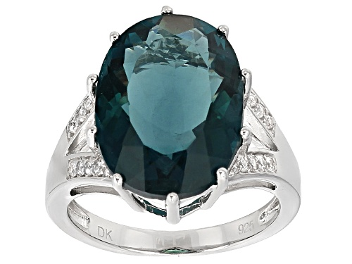 Photo of 10.88ct Oval Teal Fluorite And .23ctw Round White Zircon Sterling Silver Ring - Size 5