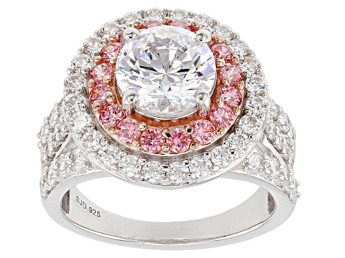 Photo of Bella Luce Luxe ™ 7.11CTW Featuring Fancy Pink Zirconia From Swarovski ® Rhodium Over Silver Ring - Size 10