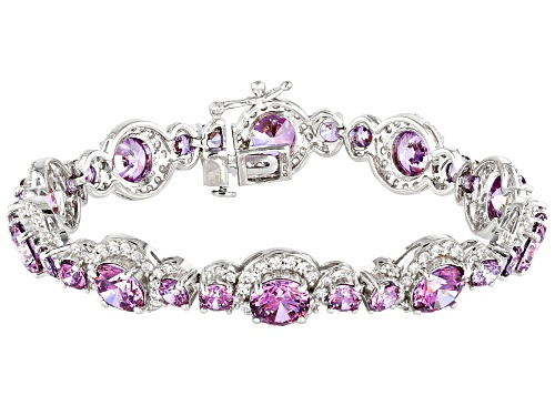Photo of Bella Luce Luxe™ Fancy Purple and White Zirconia From Swarovski® Rhodium Over Silver Bracelet - Size 7.5