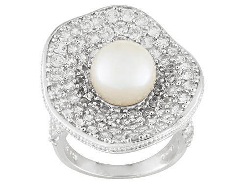 Photo of 9-9.5mm White Cultured Freshwater Pearl With 6.07ctw White Zircon Rhodium Over Silver Ring - Size 12