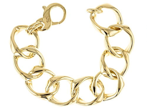 Photo of Moda Al Massimo® 18k Yellow Gold Over Bronze Open Curb 8 1/4 Inch Bracelet - Size 8.25