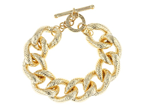 Photo of Moda Al Massimo® 18k Yellow Gold Over Bronze Textured Grande Curb 8 3/4 Inch Bracelet - Size 8.75
