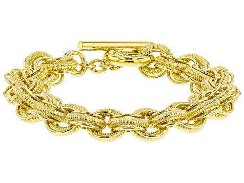 Photo of Moda Al Massimo® 18k Yellow Gold Over Bronze Textured Interlocking Rolo 9 Inch Bracelet - Size 9