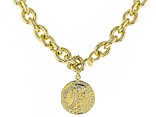 Photo of Moda Al Massimo® 18k Yellow Gold Over Bronze Rolo Coin 40 Inch Necklace - Size 40