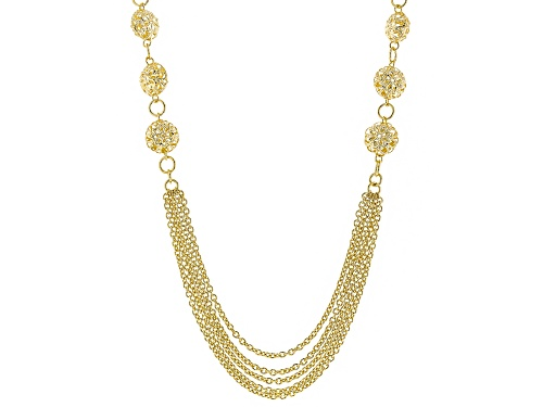 Moda Al Massimo® 18k Yellow Gold Over Bronze Multi-Strand Filigree Station 33 Inch Necklace - Size 33