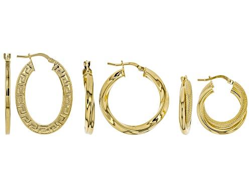 Photo of Moda Al Massimo® 18k Yellow Gold Over Bronze Greek Key, Twisted, Textured Hoop Earrings Set Of Three