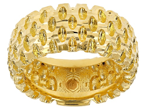 Photo of Moda Al Massimo® 18k Yellow Gold Over Bronze Diamond Cut Wide Band Ring - Size 8
