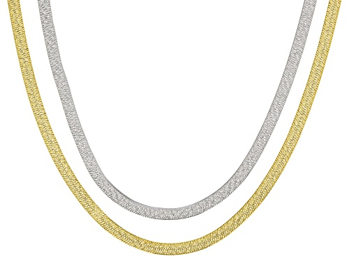 Photo of Moda Al Massimo® 18k Yellow Gold Over Bronze and Rhodium over Bronze 18 inch Necklace Set of Two - Size 18
