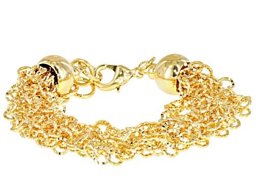 Photo of Moda Al Massimo® 18k Yellow Gold Over Bronze Multi-Row Diamond Cut Cable 7 inch Bracelet - Size 7