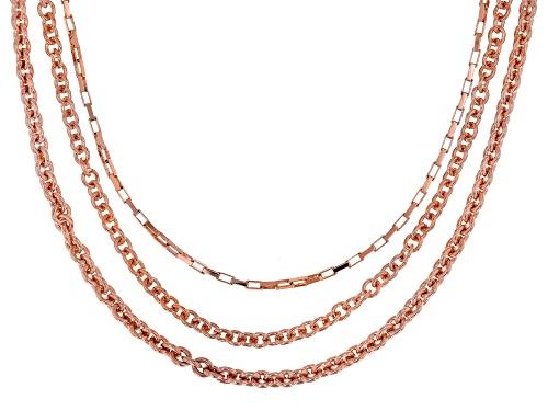 """Photo of Moda Al Massimo® 18k Rose gold Over Bronze Multi-Chain 20"""" Necklace - Size 20"""