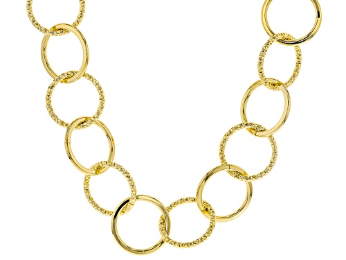 Photo of Moda Al Massimo® 18K Yellow Gold Over Bronze Hammered & Polished Circle Necklace 24.5 Inch - Size 24.5