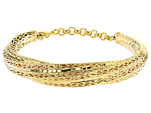 Photo of Moda Al Massimo® 18K Yellow Gold Over Bronze Crossover Bangle Bracelet - Size 7