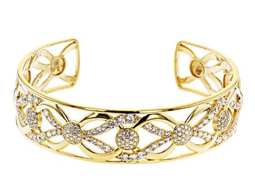 Photo of Moda Al Massimo® 18K Yellow Gold Over Bronze Cuff Bracelet 8 Inch With Bella Luce® Diamond Simulant - Size 8