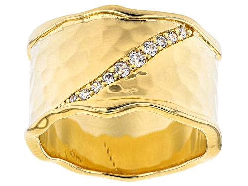 Photo of Moda Al Massimo® 18K Yellow Gold Over Bronze Wide Band Ring With Bella Luce® Diamond Simulant - Size 7