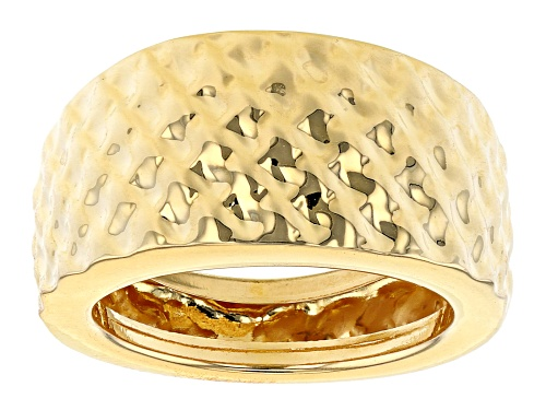 Photo of Moda Al Massimo® 18K Yellow Gold Over Bronze Hammered Wide Band Ring - Size 6