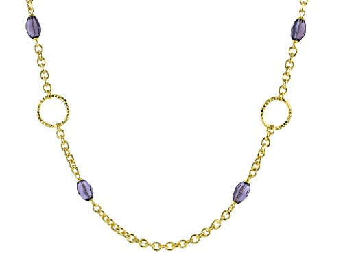 Photo of Moda Al Massimo® 18K Yellow Gold Over Bronze Simulant Amethyst Rolo Link Chain Necklace 24 Inch - Size 24