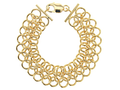 Photo of Moda Al Massimo® 18K Yellow Gold Over Bronze Round Cable Link Bracelet 8 Inch - Size 8