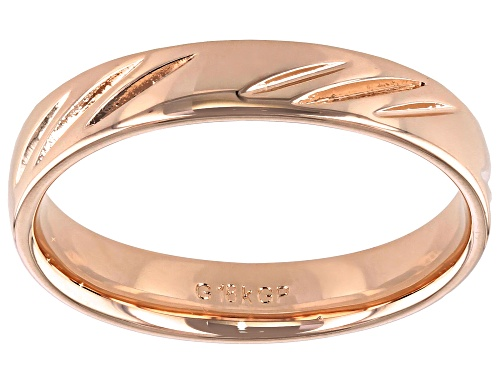 Photo of Moda Al Massimo® 18k Rose Gold Over Bronze Comfort Fit 4MM Diamond Cut Band Ring - Size 8