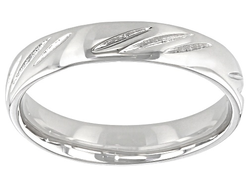 Photo of Moda Al Massimo® Comfort Fit Rhodium Over Bronze 4MM Diamond Cut Band Ring - Size 8
