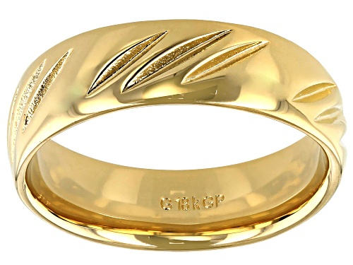 Photo of Moda Al Massimo® 18k Yellow Gold Over Bronze Comfort Fit Diamond Cut 6MM Band Ring - Size 7