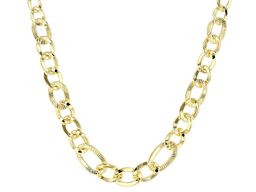 Photo of MODA AL MASSIMO(R) 18K YELLOW GOLD OVER BRONZE GRADUATING CURB LINK NECKLACE - Size 20