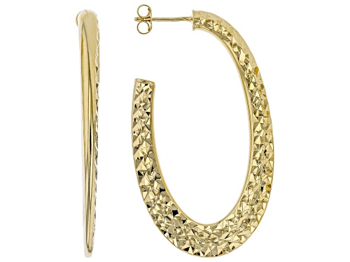 Photo of MODA AL MASSIMO™ 18K Yellow Gold Over Bronze Hammered Oval Hoop Earrings