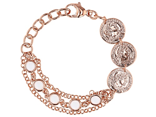 "Photo of MODA AL MASSIMO™ 18K Rose Gold Over Bronze  Stationed Coin Bracelet with White Crystals 6-7.5"" - Size 7"