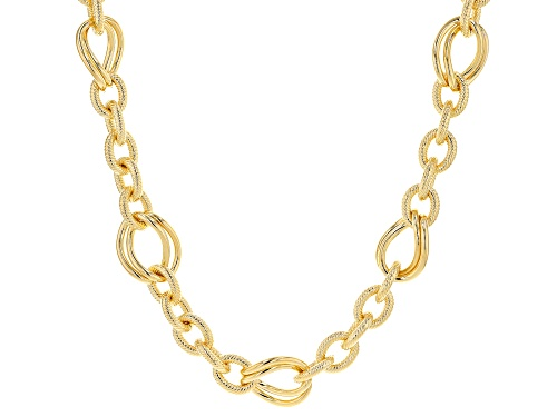 """MODA AL MASSIMO™ 18K Yellow Gold Over Bronze Textured Link Necklace with Polished Stations 20"""" - Size 20"""