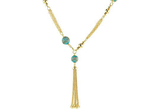 "Photo of Moda Al Massimo™ 18K Yellow Gold Over Bronze Multi-strand Tassel Stationed Front Clasp Necklace 20"" - Size 20"