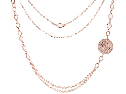 "Photo of MODA AL MASSIMO™ 18K Rose Gold Over Bronze with White Crystals with Coin Pendant Necklace 30"" - Size 30"