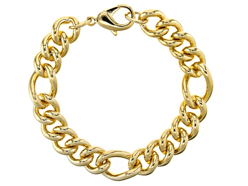 Photo of Moda Al Massimo™ 18k Yellow Gold Over Bronze Station Curb Bracelet 8.5 Inches - Size 8.5