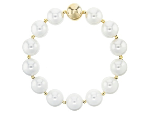 Photo of Moda Al Massimo™ 18k Yellow Gold Over Bronze Freshwater Pearl Simulant Stretch Bracelet 8 Inches