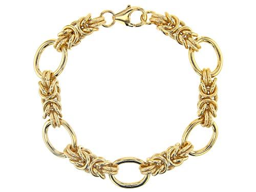 Photo of Moda Al Massimo™ 18k Yellow Gold Over Bronze Byzantine Station Bracelet 8.5 Inches - Size 8.5