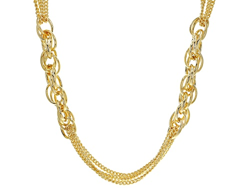 """Photo of Moda Al Massimo™ 18K Yellow Gold Over Bronze Multi-Strand Chain with Side Link Stations 30"""" - Size 30"""