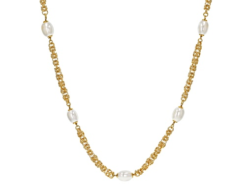 "Photo of Moda Al Massimo™ 18K Yellow Gold Over Bronze Pearl Simulant Station 36"" Necklace - Size 36"