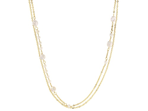 """Photo of Moda Al Massimo™ 18K Yellow Gold Over Bronze Pearl Simulant Station 40"""" Necklace - Size 40"""
