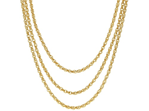 "Photo of Moda Al Massimo™ 18K Yellow Gold Over Bronze Multi-Row Loose Rope with Pearl Simulant 20"" Necklace - Size 20"