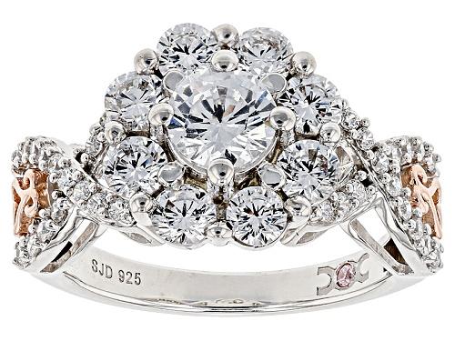Michael O' Connor For Bella Luce® Diamond Simulant Rhodium Over Silver & Eterno™ Rose Ring - Size 8