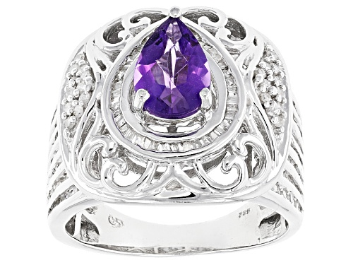 Photo of 1.05ct Pear Shape African Amethyst With .78ctw Round & Square White Diamond Sterling Silver Ring - Size 6