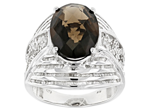 Photo of 5.03ct Oval, Checkerboard Cut Brazilian Smoky Quartz With .93ctw Round White Diamond Silver Ring - Size 5