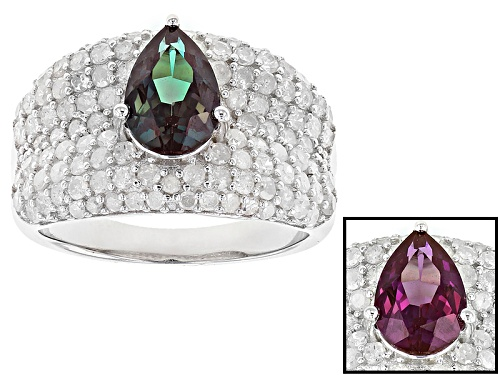 Photo of 1.53ct Pear Shape Lab Created Alexandrite & 1.19ctw Round White Diamond Rhodium Over Silver Ring - Size 8