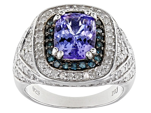 Photo of 1.75ct Tanzanite With 1.12ctw Blue And White Diamond Rhodium Over Sterling Silver Ring - Size 7