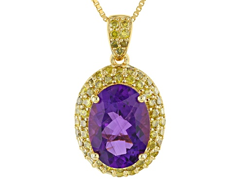 Photo of 4.85ct African amethyst with 1.13ctw yellow diamond 18k yellow gold over pendant with chain