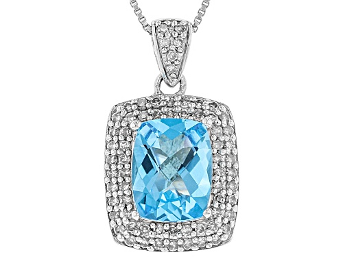 Photo of 2.20CT RECTANGULAR CUSHION SWISS BLUE TOPAZ, .32CTW WHITE DIAMOND SILVER PENDANT, CHAIN