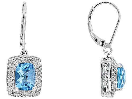 Photo of 3.00ctw rectangular cushion Swiss Blue Topaz with .42ctw diamond sterling silver earrings.