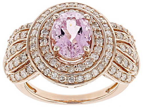 Photo of 2.21ct Oval Kunzite With 1.01ctw White Diamond 18k Rose Gold Over Sterling Silver ring - Size 8