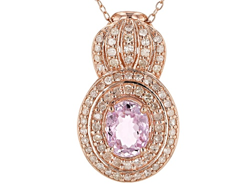 Photo of 2.21ct Kunzite With .79ctw White Diamond 18k Rose Gold Over Sterling Silver Pendant With Chain
