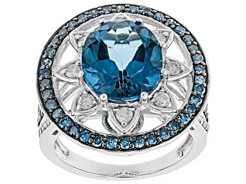 Photo of 5.10ct London Blue Topaz with 1.07ctw Blue & White Diamond Rhodium Over Sterling Silver Ring - Size 8