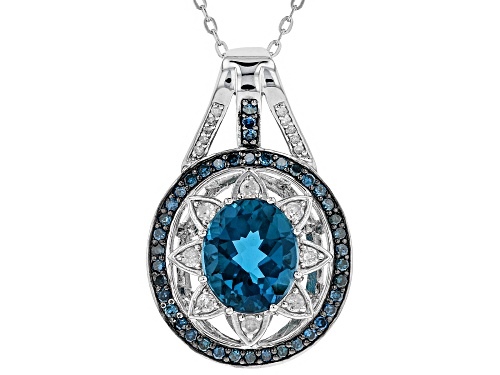 Photo of 5.10ct London Blue Topaz With .92ctw Diamond Rhodium Over Silver Pendant With Adjustable Chain